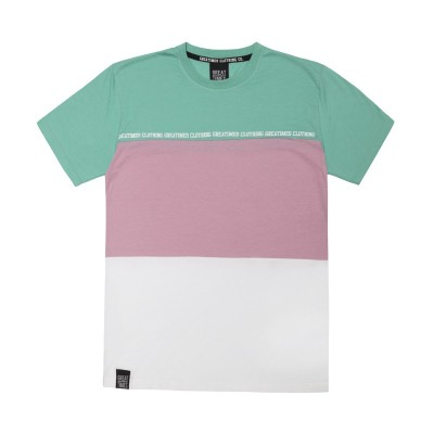 CAMISETA TRICOLOR MINT/ROSA/BLANCO
