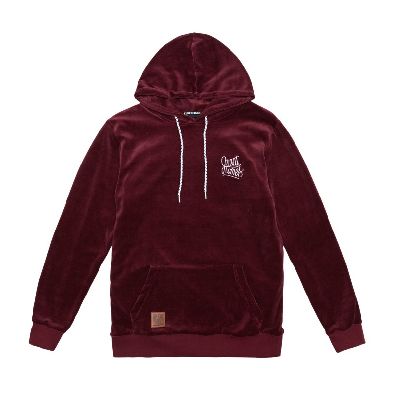 SUDADERA GREAT TIMES CAPUCHA VELOUR FW17 BURDEOS